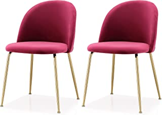 M60 Modern Velvet Chair- Set of 2 Piece Velvet Upholstery Gold Frame Chair Set- Steel Base Side Chair- Elegant and Comfortable Design - Ideal for Dining Room- Multiple Colors Available (Dark Red)