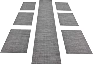 Woven Placemats and Table Runner Set, Xcellent Global 6Pcs 30x45CM Table mats and 1Pcs Table Runner 30 x 180CM, Heat Resis...