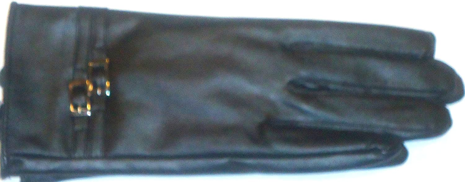 Glv436 Black Leather Thinsulate Lining Women's Fashion Gloves S/M