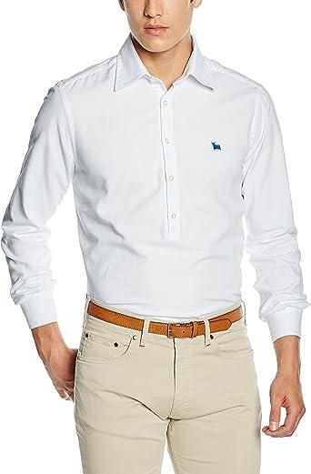 TORO Camisa POLERA M/L Lisa, 1 Blanco, S para Hombre: Amazon ...