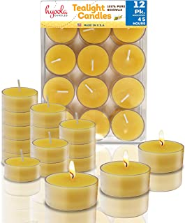 Pure Beeswax Tea Lights - 12 Pack - Handmade Decorative Unscented - Tealight Candles - 4 Hour Burn Time, Clear Cup