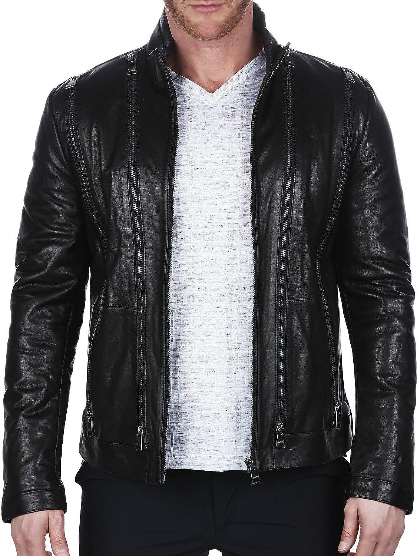 Maceoo Mens Designer Jacket - Leather MultiZip - Shaped Fit Black