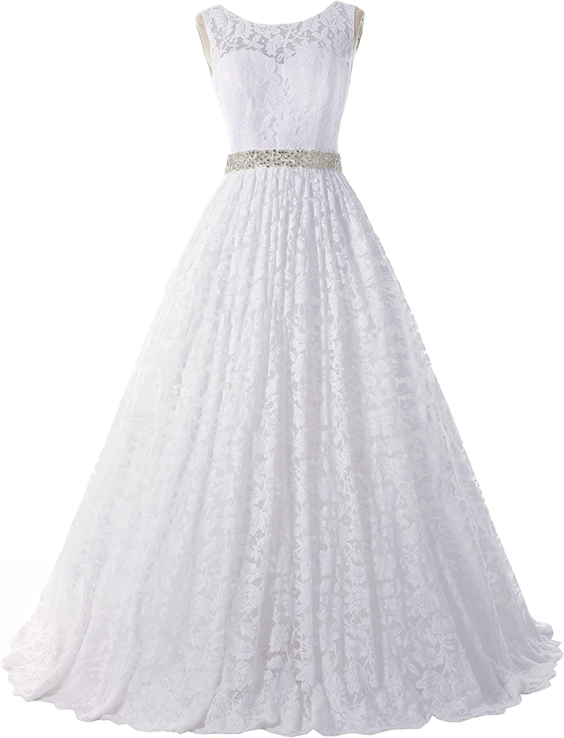 SOLOVEDRESS Women's Ball Gown Lace Princess Wedding Dress Sash Beaded Bridal Evening Gown
