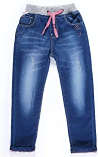 LITTLE-GUEST Girls' Pull On Drawstring Waistband Jeans Place Straight Fit Toddler Kids Denim Pants G116