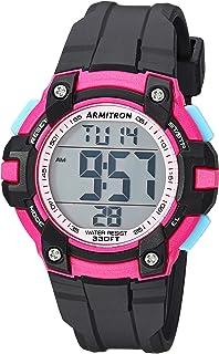 Armitron Sport Women's 45/7108PBK Magenta Accented Digital Chronograph Black Resin Strap Watch