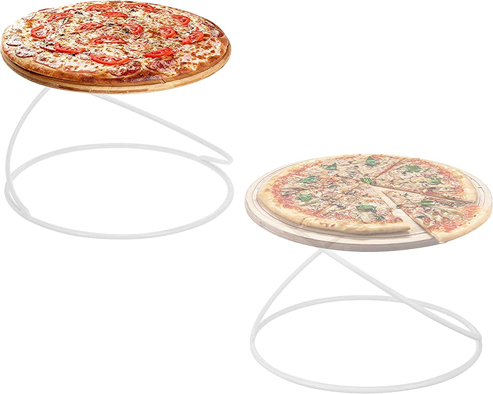 MyGift Modern White Metal Wire Circular Pizza Serving Stands Set Of 2