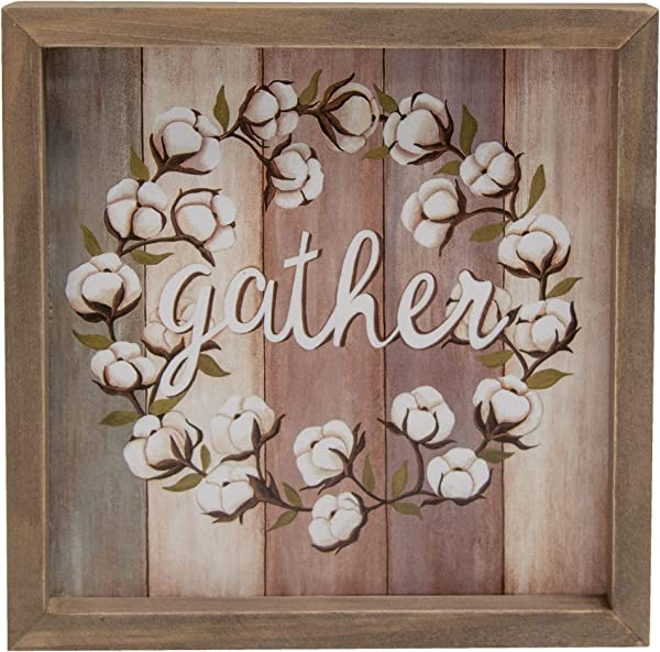 CWI Gifts Gather Cotton Wreath Box Sign Multi
