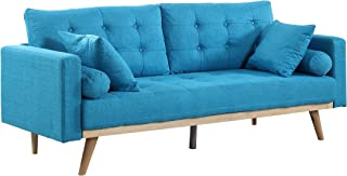 Madison Home Tufted Linen Mid-Century Modern Sofa Light Blue