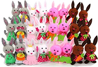 Bstaofy 24pcs Small Easter Egg Hunt Felt Bunny Couple Kit Pom Pom Garland Plush Toys Sticky Craft Colorful Bag Stuffer Adorable Spring Decoration Kids Gift Party Favor,2.51 inch