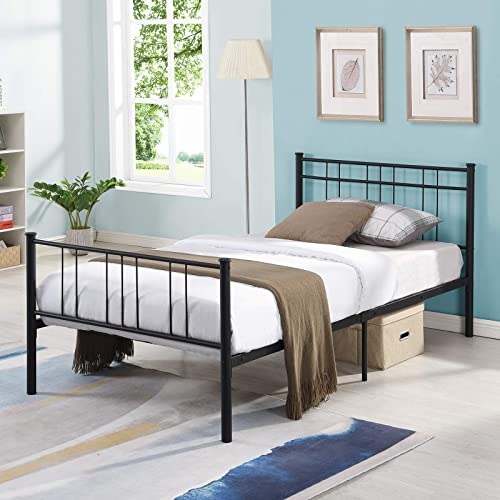 lowest Metal Bed Frame Twin Size, with Headboard, No Box Spring, Sturdy Metal Frame high quality Premium Steel Slat Support sale Platform Bed sale
