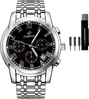 Stainless Steel Quartz Stopwatch Men's Wrist Watches Chronograph Watch