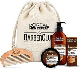 L'Oréal Men Expert Bartpflege Set mit Bartöl, Bartshampoo, Bartkamm und Bart Styling Pomade, Barber Club Premium Geschenks...