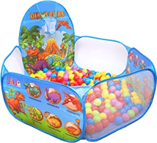 DESIPESI Ball Pit for Kids, Dinosaur Ball Tent Ball Pit with Basketball Hoop for Toddlers 4 Ft/120CM (Balls not Included)