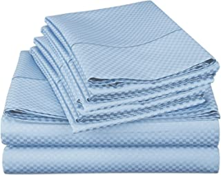 Lux Decor Collection Bed Sheet Set - Brushed Microfiber 1800 Bedding - Wrinkle, Stain and Fade Resistant - Hypoallergenic - 4 Piece (Queen, Checkered Blue)