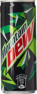 Mountain Dew Carbonated Soft Drink, Cans, 6 x 245 ml