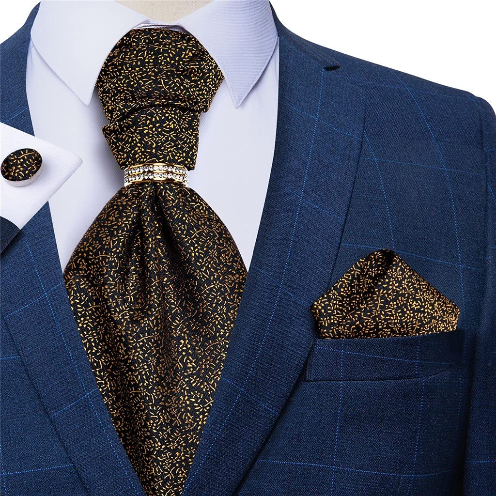 CDQYA Gold Floral Men Vintage Cravat Formal Wedding Silk Necktie For Men Tie Handkerchief Cufflinks Set (Color : Gold Floral, Size : One size)