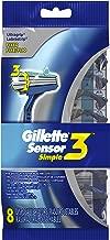 Gillette Sensor3 Simple Men's Disposable Razors, 8 Count, Mens Razors / Blades