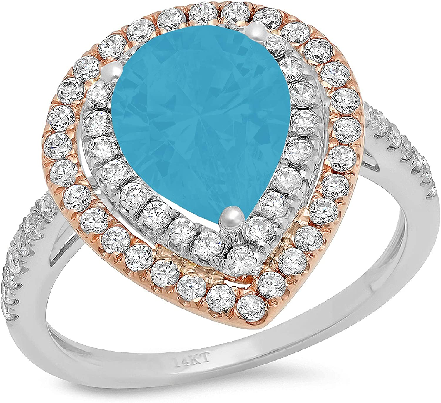 2.6ct Pear Cut Double Halo Solitaire with Accent Flawless Ideal VVS1 Simulated Blue Turquoise CZ Engagement Promise Statement Anniversary Bridal Wedding Designer Ring Solid 14k 2 tone Gold