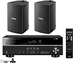 Yamaha 5.1-Channel Wireless Bluetooth 4K A/V Home Theater Receiver + Yamaha Natural Sound High Performance 2-Way Indoor/Ou...