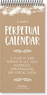 Rustic Perpetual Birthday, Anniversary, Special Event Reminder Calendar Book Journal for Important Family Date Day Remembrance Wall Hanging, Mom Dutch Happy Bday Birthdate Gift Card Planner Organizer