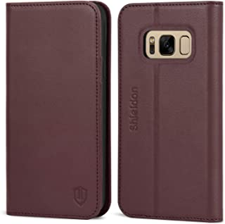 SHIELDON Galaxy S8 Case, Genuine Leather S8 Wallet Case with Magnetic Closure Credit Card Holder Flip Book Design Stand Folio Cover Compatible with Galaxy S8 (5.8-inch) - Wine Red
