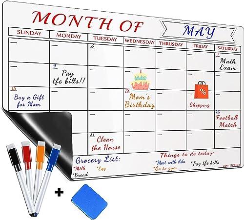 Large Magnetic Dry Erase Refrigerator Calendar by ADA OFFICE, Calendar Whiteboard Monthly Planner - 4 Fine Tip Marker...