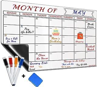 Large Magnetic Dry Erase Refrigerator Calendar by ADA OFFICE, Calendar Whiteboard Monthly Planner - 4 Fine Tip Markers, Er...
