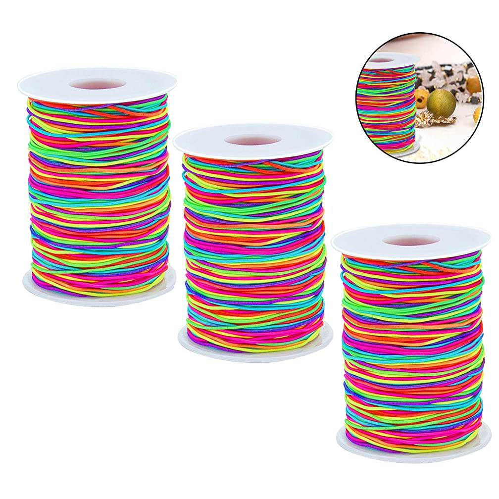 Lainrrew 3 Rolls Rainbow Elastic String Cord, 1 MM Stretch Trim Cord 80 Meters Beading String Cord for Beading Making Necklace Bracelet Chinese Knot (3)