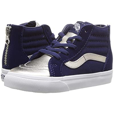 Vans Kids Sk8-Hi Zip (Infant/Toddler) ((Metallic Toe)Medieval Blue/Silver) Girls Shoes