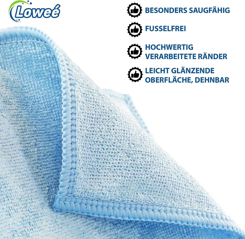 Blau leicht gl/änzende Oberfl/äche dehnbar Lowe/é 10er Set Mikrofasert/ücher Stretch Economy Universell einsetzbar