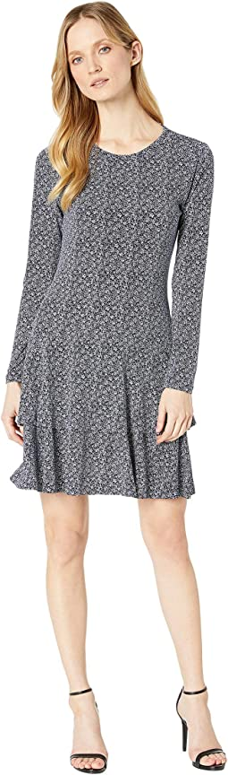 Floral Crew Neck Flounce Dress