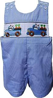 Dana Kids Boys Easter Bunny Truck Smocked Shortall (4T)