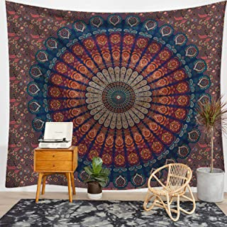 Passionate Adventure Tapestry Wall Hanging Black and White Tapestry Mandala Bohemia Tarot Psychedelic Tapestries for Dorm Decor Brown L