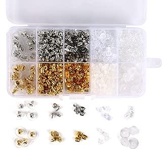 1040pcs Earring Backs, BetyBedy 10 Styles Earring Backings Kit, Metal Plastic Rubber Earring Back Clips Bullet Butterfly Flower Shape