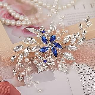 SNOWH Bridal Hair Comb Clip Pins Blue Rhinestone Wedding Hair Accessories Handmade Barrette Headpieces for Bride Bridesmaids Silver
