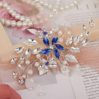 SNOWH Bridal Hair Comb Clip Pins Blue Rhinestone Wedding Hair Accessories Handmade Barrette Headpieces for Bride Bridesmaids Silver