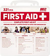 M2 BASICS 321 قطعه حق بیمه کیت کمک های اولیه / مورد سخت | راهنمای رایگان کمک های اولیه | عرضه اورژانس پزشکی | خانه، دفتر، خارج از منزل، ماشین، کمپینگ، سفر، بقا، محل کار
