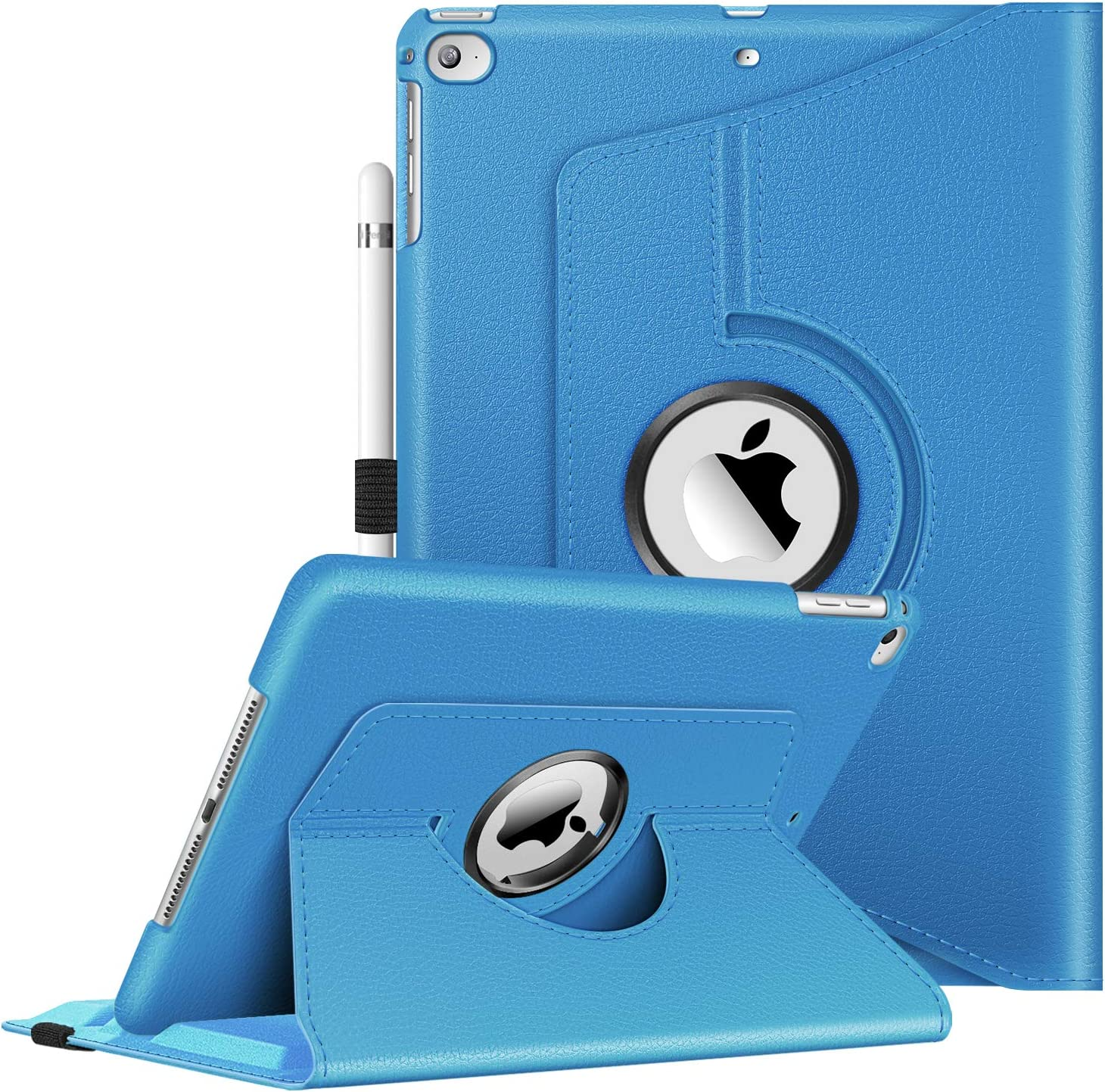Free Screen Protector /& Stylus PU Leather 360 degree rotation stand iPad 5 case for Apple ipad Air 5th Generation Retina display Blue