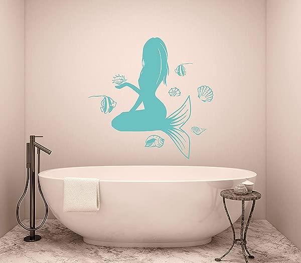 可移除墙壁壁画浴室墙贴花美人鱼贴花贝壳乙烯基贴纸淋浴艺术装饰易于安装乙烯基贴花