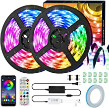 LED Strip Lights, KeShi 32.8ft RGB Tape Lights, 300 LEDs SMD5050 IP65 Waterproof Music Sync Color Changing Rope Lights, 24...