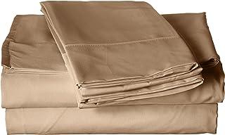 Home Basics Ultra Soft Brushed 4 Piece Microfiber 90GSM Sheet Set - Hypoallergenic Solid Sheet Set, King, Dark Cream
