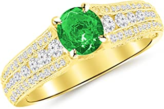 1.7 Carat 14K White Gold Gorgeous Channel And Pave Set Graduating Round Designer Diamond Engagement Ring with a 1 Carat Natural Emerald Center (Heirloom Quality)