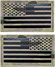 """2x3.5"""" Infrared IR US USA American Flag Patch Tactical Vest Patch Hook-Fastener Backing(1 Left + 1 Right) (Multicam)"""