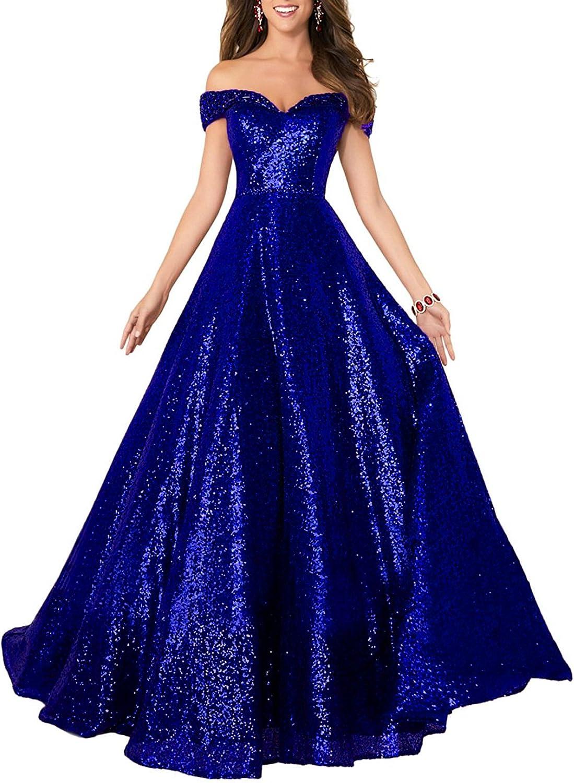 Beauty Bridal Women's Off Shoulder Sequins Prom Gowns Evening Dresses 2017 Long S014