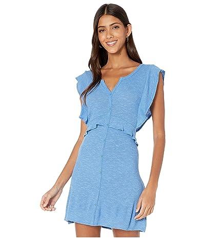 Jack by BB Dakota Knit Dress with Front Button Faux Placket (Sea Blue) Women