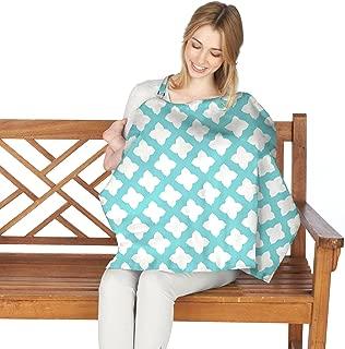 Nuby Nursing Cover, Nursing Cover For Breastfeeding, Breathable Nursing Poncho, Lightweight Nursing Shawl, Infant Udder Cover, Full Coverage 25'' x 28'', Blue Star