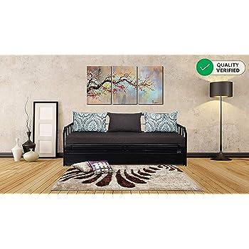 FurnitureKraft Centerville Three Seater Sofa-Cum-Bed with Mattress (Glossy Finish, Brown)