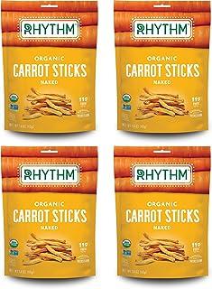 Rhythm Superfoods Carrot Sticks, Naked, Organic & Non-GMO, 1.4 Oz (Pack Of 4), Vegan/Gluten-Free Superfood Snacks