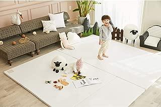 ALZIP MAT Eco Silion Urban, Folding Play Mat Eco-Friendly Non-Toxic Non-Slip Reversible Waterproof (G (79x55 inch), Milk)