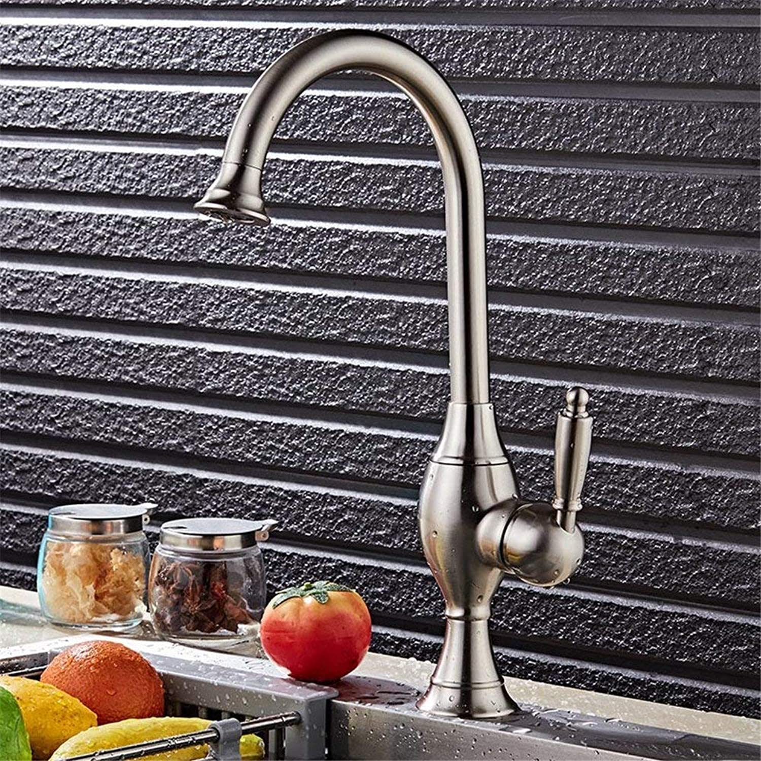 SEEKSUNG Sink Taps Euro-Copper Kitchen Sink Mixer Faucet Brushed Faucet and Cold Water Bathroom Faucet Dual Basin Mixer Single Hole Washbasin Faucet Water Saver Eco